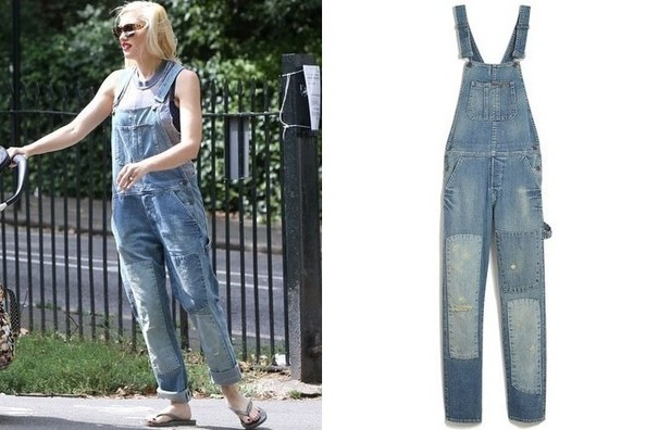 Gwen Stefani Wearing True Religion Overalls