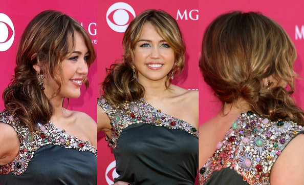 Miley Cyrus Prom Hairstyle Ideas Messy Side Ponytail