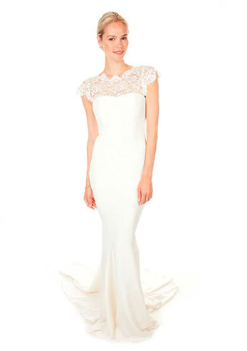 Nicole miller lace and crepe de chine bridal gown 150 wedding