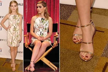 Found: Kiernan Shipka's Modest Metallic Sandals