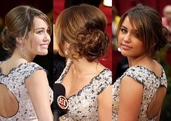 Romantic curly updo miley cyrus prom hairstyle ideas stylebistro miley cyrus prom hairstyle ideas romantic curly updo pmusecretfo Images