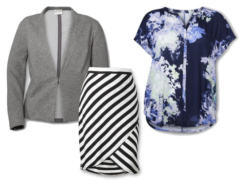AVA & VIV Button-Down Top in Navy Floral Print, $25; Tulip Skirt in Black/White Stripe, $25; and Blazer in Grey, $40; at Target
