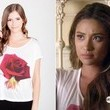Shay Mitchell's White T-Shirt with Rose Graphic on 'Pretty Little Liars'