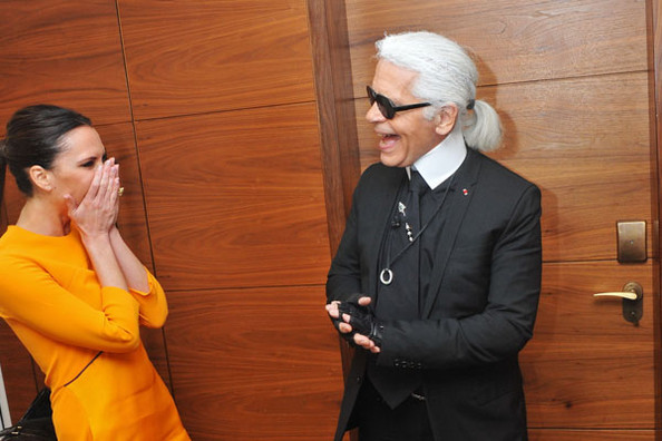 Karl Lagerfeld Makes Victoria Beckham Laugh