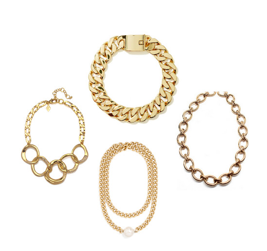 "<strong>Charm & Chain </strong>Sequin Interlocking Gold Chain Necklace, $83, at <a href=""http://www.charmandchain.com/interlocking-gold-chain-necklace"">charmandchain.com</a>; <strong>Nasty Gal</strong> Eliza Chain Choker, $45, at <a href=""http://www.nastygal.com/product/Eliza-Chain-Choker?utm_source=commission_junction&utm_medium=affiliate&utm_campaign=affiliate&cj_linkd=11085047&cj_webid=2178999&cj_sid=1031135393&cj_affid=1909792&cj_affname=ShopStyle.com&utm_content=1909792"">nastygal.com</a>; <strong>Rachel Ryen</strong> Jewelry Gold Chain Necklace, $125, at <a href=""http://www.shoptiques.com/products/gold-chain-statement-necklace"">shoptiques.com</a>; <strong>BaubleBar</strong> Vermeer Pearl Pendant Necklace, $38, at <a href=""http://www.baublebar.com/vermeer-pearl-pendant.html"">baublebar.com</a>"