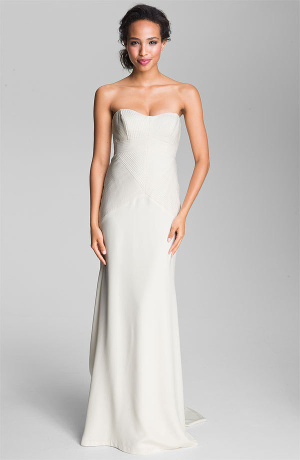 Nicole miller pleated bodice silk charmeuse gown 150 for Nicole miller wedding dresses nordstrom