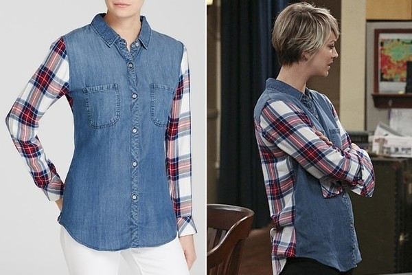 Kaley Cuoco-Sweeting's Denim-and-Plaid Button-Down on 'The Big Bang Theory'