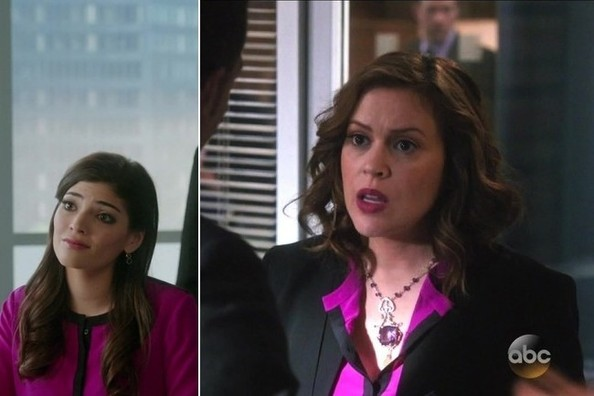 Seeing Double: Amanda Setton and Alyssa Milano Wear the Same Pink Blouse on TV