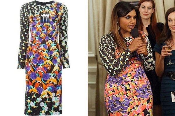 Mindy Kaling's Long-Sleeve Mixed-Print Dress on 'The Mindy Project'