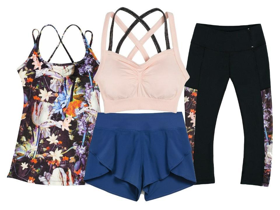 Clockwise: Calia by Carrie UnderwoodPrinted Double Strap Tank Top in Print Classical-Floral, $50; Inner Power Seamless Double Strap Bra in Pink Darling, $40; Essential Printed Panel Capris in Classical Floral/Caviar, $65; Journey Flutter Shorts in Deep Indigo, $35, atDick's Sporting Goods