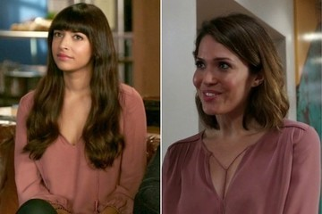 Seeing Double: Hannah Simone and Mandy Moore Sport the Same Blush Blouse