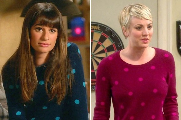 Seeing Double: Lea Michele and Kaley Cuoco-Sweeting Rock the Same Polka Dot Pullover