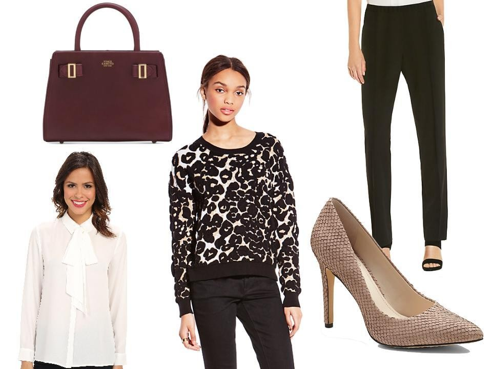 Vince Camuto Eli Small Satchel in Garnet, $228, at Macy's; Slim-Leg Pleated Pant, $89, at Vince Camuto; Kain Pumps in Tauplicious Suede Scales Solid, $98, at Vince Camuto; Puckered Leopard Pullover, $89, at Vince Camuto; and Tie-Neck Blouse, $89, at Vince Camuto