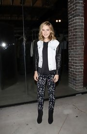 Kiernan's printed pants looked super cool when paired with a denim and leather jacket.