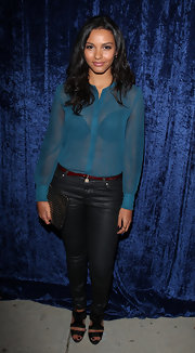Jessica Lucas looked amazing in black skinny leather-like jeans at the 'Super 8' DVD Party.