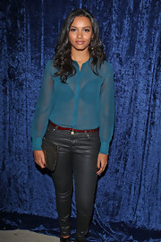 Jessica Lucas wore a trendy blue sheer button-down blouse to the 'Super 8' DVD Party.