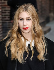 Bright red lips simply popped against Zosia Mamet's fair skin and blonde locks.