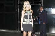 Erin Heatherton chose this flapper-style, fringe dress for her look during Sao Paulo Fashion Week.