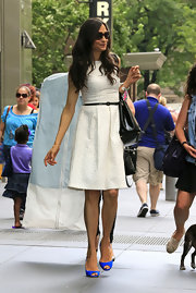 Famke's cream day dress looked light and summery on the star.