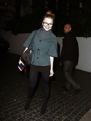 Izabella Miko chose a tailored jacket with belted waist and wide sleeves for her look while out in Hollywood.