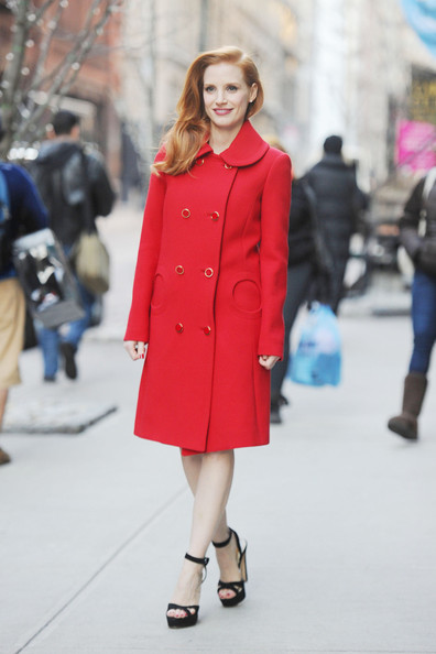 More Pics of Jessica Chastain Wool Coat (1 of 7) - Jessica Chastain Lookbook - StyleBistro