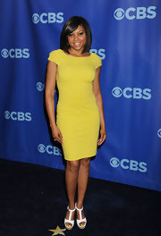 Taraji added a burst of color to the CBS Upfront event in a yellow cocktail dress.