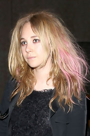 Juno Temple stepped out in LA sporting splices of pink in her strawberry blonde locks.