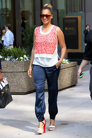 La La Vazquez stepped out in NYC wearing a sexy pair of two-toned sandals.