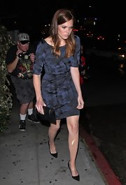 Mandy Moore headed to the Chateau Marmont in this brocade boatneck dress.