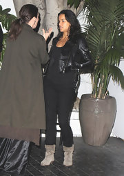 Michelle Rodriguez went for an edgy vibe with a pair of slouchy gray boots and an all-black outfit during a night out in Chateau Marmont.