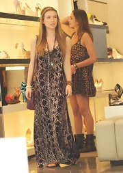 Nathalia Ramos was spotted shopping in LA, wearing a printed maxi styled with beaded jewelry.