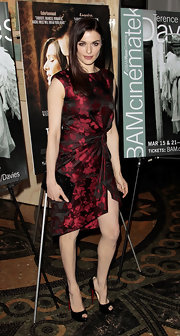 Rachel Weisz wore this maroon brocade dress to the NY premiere of 'The Deep Blue Sea.'