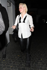 Rose McGowan sported this tuxedo-style button down with an undone bow tie for her late night look.