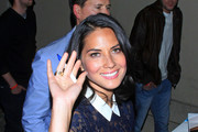Actress and model Olivia Munn seen greeting fans and signing autographs while making an appearance on a TV show in Hollywood.