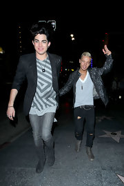 Adam wears a geometric print top under a blazer for an outing with his boyfriend in LA.