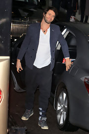 Howard Donald's blue blazer added a lot of style to his casual get-up.