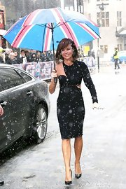 Amanda Holden arrived at auditions in London wearing a stunning asymmetrical black dress with cut-out details.