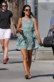 Alessandra opted for a super easy-going look with a flowy turquoise printed frock.