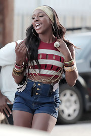 Alexandra Burke showed off her bangle bracelets while shooting her new video in LA.