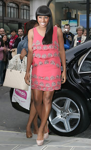 Alexandra Burke looked super cute in her Topshop dress, which she completed with Louboutin pumps.