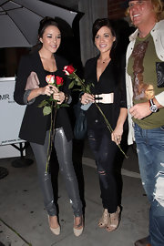 Alexis Neiers opted for a pair of nude colored pumps to complement her metallic skinny pants.