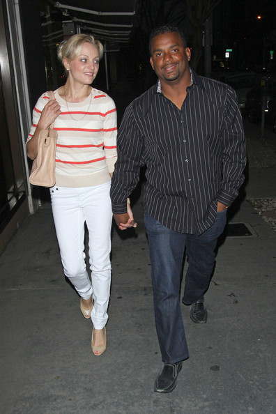 Alfonso Ribeiro left Madeo's restaurant in black loafers.