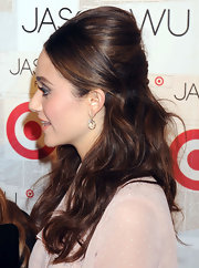 Emmy Rossum wore her tresses partially up in a voluminous French twist while the rest of her hair was left in long loose waves at the launch of Jason Wu for Target.