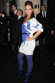 Alicia paired her vibrant paint print Alexander McQueen dress with these electric blue entwined ankle boots. Fierce!