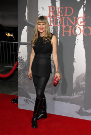 Catherine Hardwicke donned black leather knee high boots to the premiere of 'Red Riding Hood.'