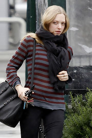 Amanda Seyfried gave her casual style a nautical touch with a striped sweater.