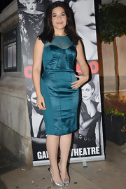 America Ferrera wore a teal corset dress with a sheer yoke for the 'Chicago' after-party.
