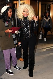 Nicki met her fur quota for the day in these snuggle-worthy shaggy boots.