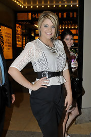 American Idol's Lauren Alaina hit up the MTV Studios in New York wearing a black and white ensemble. The young starlet posed confidently with her swept back highlights and cinched waist.