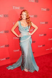 Blake Lively accentuated her glam gown with mirrored Galaxy Pass metallic sandals.
